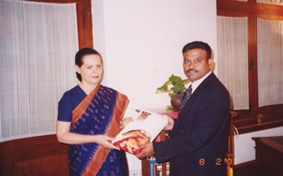 Mr. Pavan Kumar with our great leader, Smt. Sonia Gandhiji