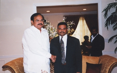 Pavan Kumar with our beloved leader Sri. Venkaiah Naidu, president of the BJP National Party