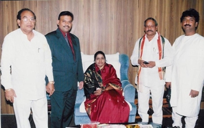 Pavan Kumar with Smt. Prethibha Bharathi, speaker of AP Asembly